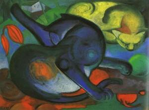 Franc Marc - Zwei Katzen, blau und gelb, 1912